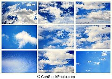 naturel, sk, ciel, lumière du jour, collection.