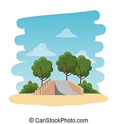 naturel, skateboard, récréatif, parc, scène, rampe