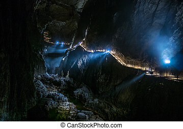 naturel, skocjan, site, cavernes, slovénie, héritage