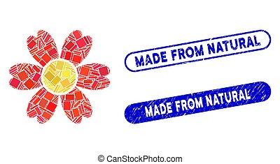 naturel, timbres, collage, fait, détresse, fleur, rectangle