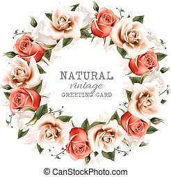 naturel, vector., vendange, couronne, roses., fond
