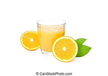 naturel, verre, feuilles, boisson, isolé, oranges, arrière-plan., jus, orange, frais, blanc
