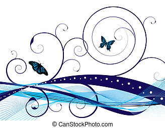 Natural background with an abstract style and floral designs with butterflys
