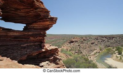 Aerial view of rocks rippled with red and white banded of Nature's Window over Murchison River Gorge, the most iconic natural attraction in Western Australia. Popular walk trail, Kalbarri National Park