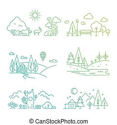 natureza, ícones, árvore, paisagem, plantas, rio, montanhas