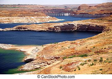 natureza, -, américa, powell, lago, glen, represa, colorado, fim, desfiladeiro, clássicas, rio