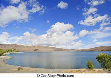natureza, ao ar livre, paisagem, com, céu azul, e, nuvens