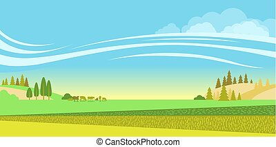 natureza, campos, cows.vector, rebanho, fundo, paisagem rural