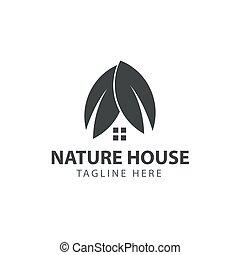 natureza, casa, vetorial, desenho, modelo, logotipo