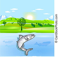natureza, conservação, e, peixe