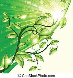 natureza, desenho, em, verde, e, bronzeado