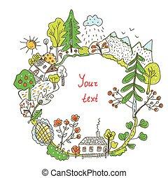 natureza, doodle, quadro, árvores, flores, vila