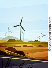 natureza, energia, estação, renovável, fundo, turbina, vento