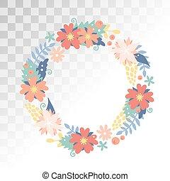 natureza, flores, grinalda, com, flores, foliage, fitas