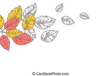natureza, folhas, outono, experiência., retro, concept.