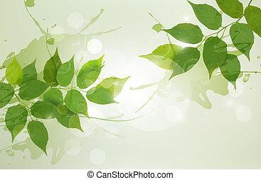 natureza, fundo, com, verde, primavera, leaves., vetorial, illustration.