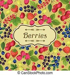 natureza, fundo, desenho, com, berries.
