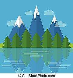natureza, montanhas, floresta, paisagem, rio
