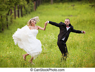 natureza, noivo, noiva, casório, desfrutando, dia