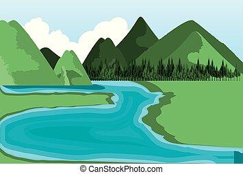 natureza, paisagem rio, ícone