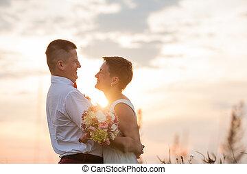 natureza, par, romanticos, ao ar livre, pôr do sol