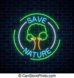 natureza, parede, árvore, símbolo, néon, escuro, experiência., texto, bordas, tijolo, salvar, redondo