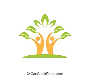 natureza, pessoas, saúde, logotipo, vetorial, modelo