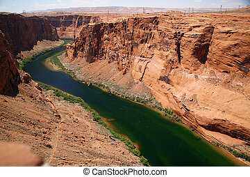natureza, represa, américa, glen, -, colorado, fim, desfiladeiro, clássicas, rio