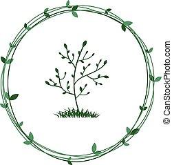 natureza, símbolo, árvore, wreath., ecológico, verde, vector., conservation.