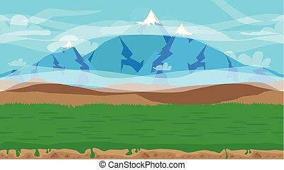 natureza, seamless, ilustração, fundo, caricatura, paisagem