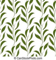 natureza, seamless, padrão, de, verde, ramos, com, folhas