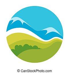 natureza, vetorial, verde, modelo, paisagem, ícone