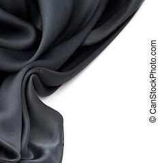 naturlig, över, svart, silke, vit