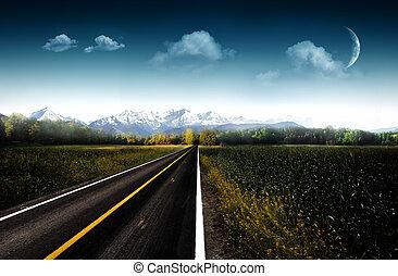 naturlig, asfalt, kväll, bakgrunder, abstrakt, väg