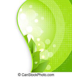 naturlig, bladen, grön fond