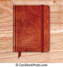 naturlig, bookmark., läder, anteckningsbok, copybook, band, desk., vektor, trä