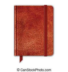 naturlig, bookmark., läder, copybook, band, vektor, notebook.