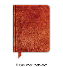 naturlig, bookmark., läder, copybook, vektor, notebook.