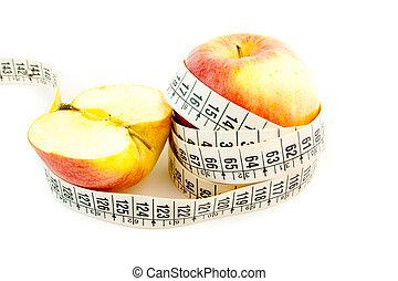 naturlig, diæt, hos, æble