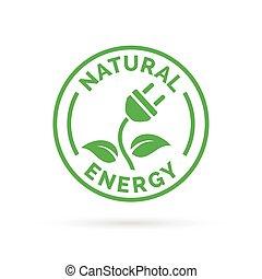 naturlig, elektriske, el, tegn., symbol, blad, ikon, energi, stik