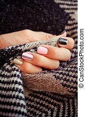 naturlig, fingernagel, gel, polish., stilig, fingernagel, nailpolish., spika, konst, design, för, den, mode, style.