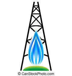 naturlig gasa, fracking, ikon