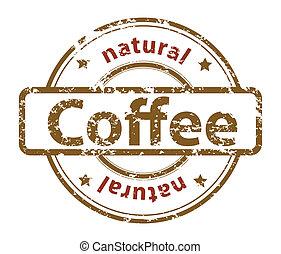 naturlig, grunge, stämpel, text, kaffe, gummi