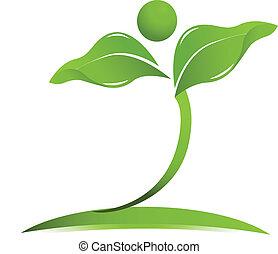 naturlig hälsa, omsorg, logo, vektor