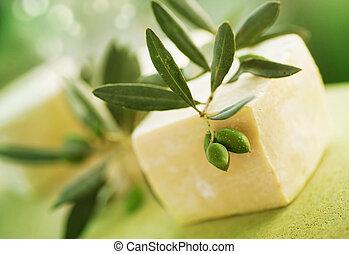 naturlig, handgjord, tvål, och, oliv