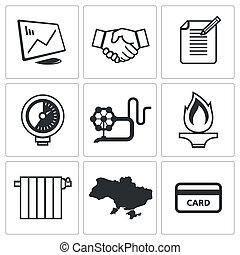 naturlig, industri, gas, samling, ikon