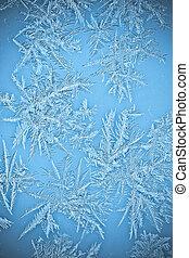 naturlig, istapp, frost, krister, på, fönstren