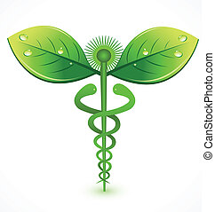 naturlig, läkar symbol, logo