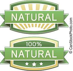 naturlig, mad, eller, produkt etikette