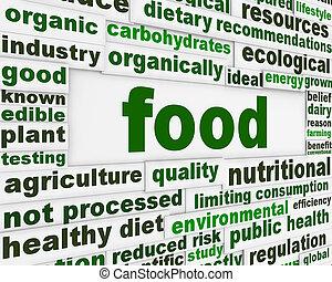 naturlig, mad, meddelelse, begreb